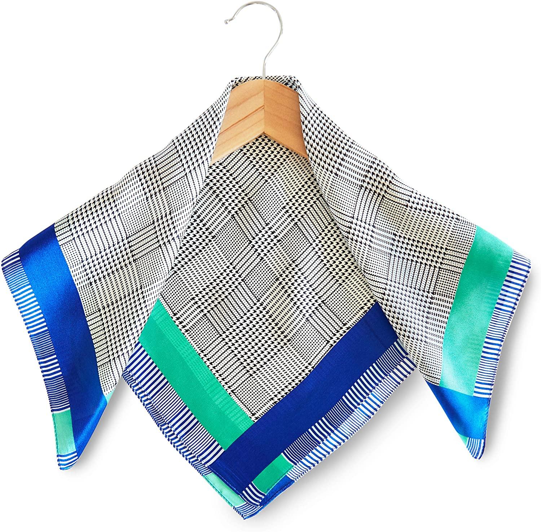 Womens Small Square Silk Satin Scarf, Grey Plaid, Bluegreen Stripes (21 x 21 In)