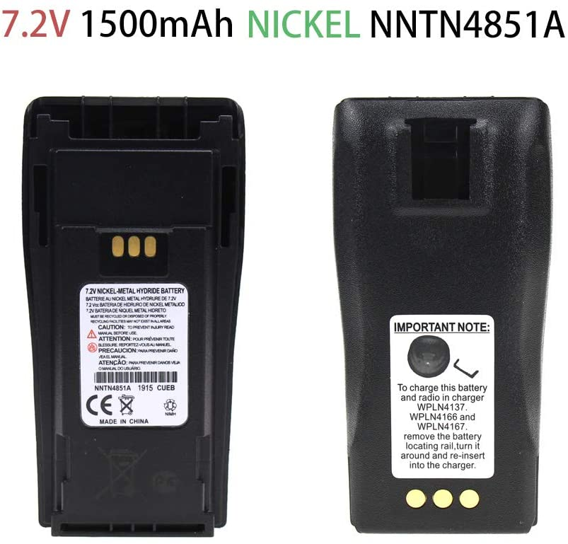 Two Way Radio Battery Nickel Battery Rechargeable Battery for Motorola CP200 PR400 EP450 EP450S DEP450 CP150 CP140 CP160 CP180 CP250 GP3688 GP3188 Radio,2-Pack