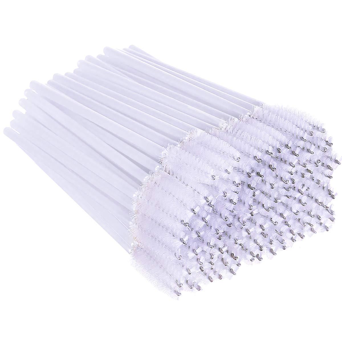 XVbond 100 PCS Disposable Eyelash Mascara Brushes Mascara Wands Applicator Eyebrow Brush, Eyelash Applicator Brush Makeup Applicators Kit (White)