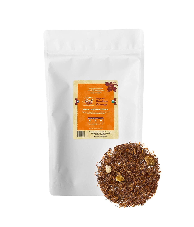 Heavenly Tea Leaves Rooibos Orange Herbal Tisane, Bulk Loose Leaf Tea, 1 Lb. Resealable Pouch