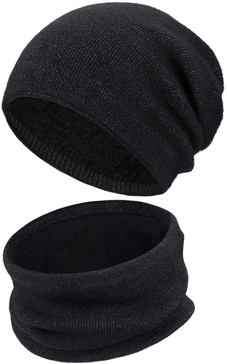 Winter Hats Scarf Set for Men and Women,Thick Hat Neck Warmer Gifts for Dad Mom