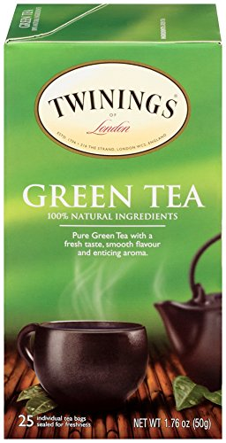 Twinings of London Pure Green Tea Bags, 25 Count (Pack of 6)