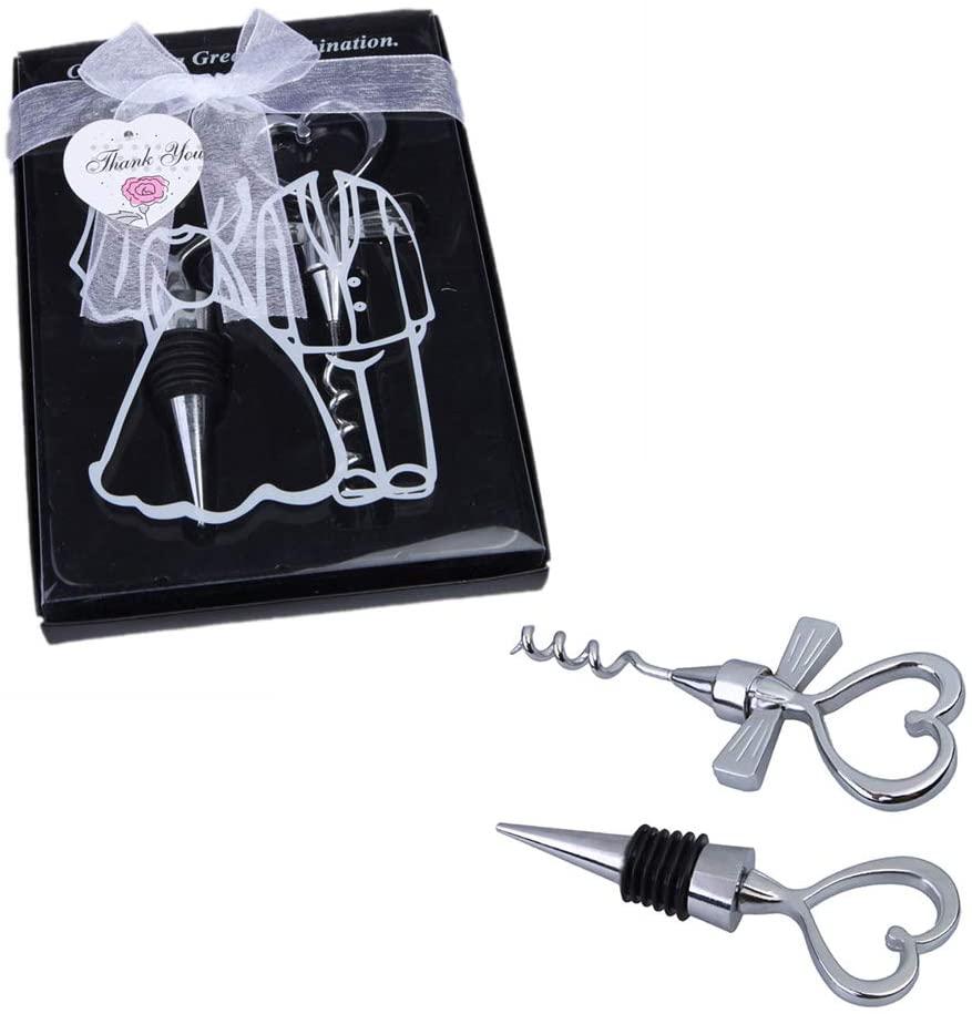 1 Set Love Heart Wine Beverage Bottle Stopper And Corkscrew Opener Set For Souvenir Gift Wedding Party Favor Wine