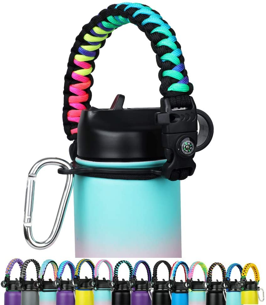 WEREWOLVES Paracord Handle - Fits Wide Mouth Bottles 12oz to 64oz - Durable Carrier, Paracord Carrier Strap Cord with Safety Ring,Compass and Carabiner - Ideal Water Bottle Handle Strap