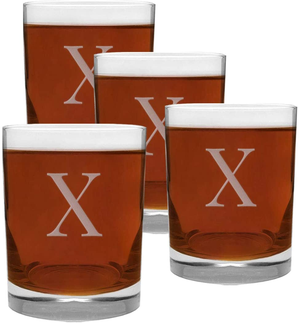4 Piece Glass Set Engraved with X-Letter Monogram, 13.5-Ounce