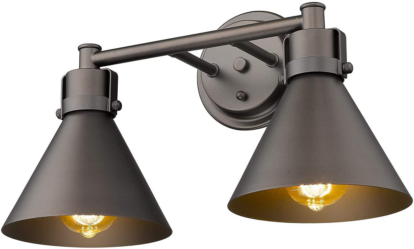 Zeyu Vanity Lights for Bathroom 2-Light, Industrial Bathroom Lighting in Oil Rubbed Bronze Finish, ZY26-2W ORB