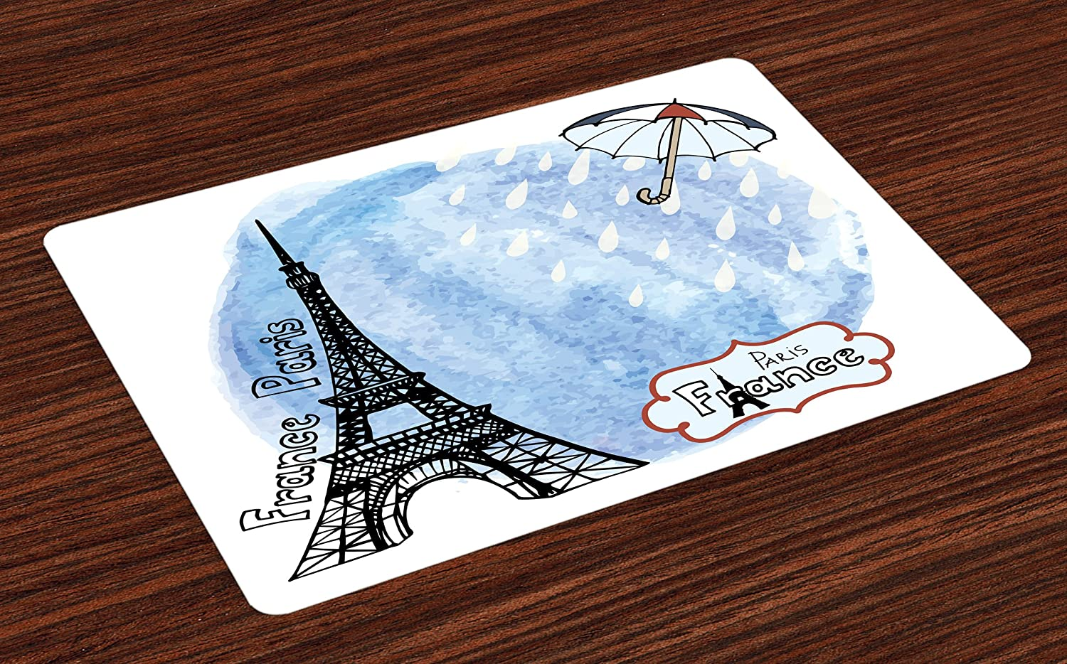 Ambesonne Eiffel Tower Place Mats Set of 4, Surreal Watercolors Paint of Eiffel Tower with Rain Splashes Paris Culture Landmark, Washable Fabric Placemats for Dining Room Kitchen Table Decor, Blue