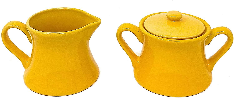 GF Set Sugar Bowl and Cream Server Holder Ceramic Farmhouse Table Kitchen Decor (Yellow)