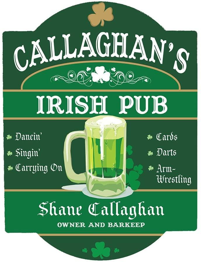 GiftsForYouNow Personalized Irish Pub Sign, 11.5