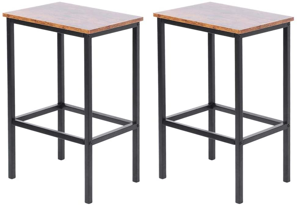 GOTOTOP Bar Chair Set of 2 Modern Rectangle Bar Stools, Height 25 Inches, Kitchen Breakfast Round Dining Chair Height for Coffee Shop, Bar, Home Balcony