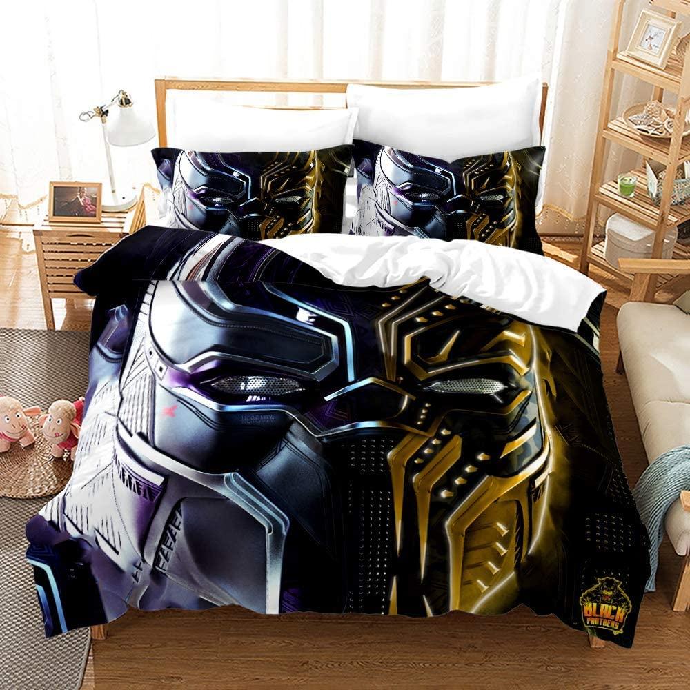 Viuseay Marvel Black Panther Duvet Cover Set Full 3PCS, Superhero Pattern Bedding Set for Teens Boys, Comforter Cover Set(1 Duvet Cover,2Pillow sham)