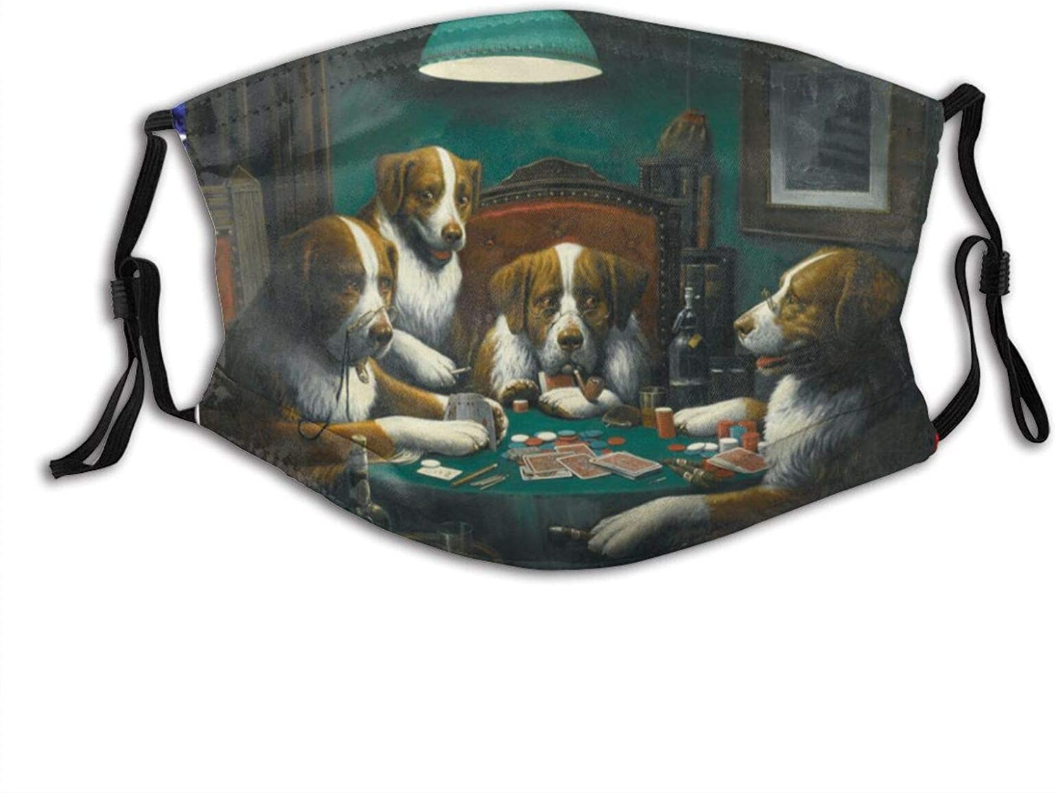 Cute Dog Playing Poker Game Face Mask With Filter Pocket Washable Reusable Face Bandanas Balaclava With 2 Pcs Filters