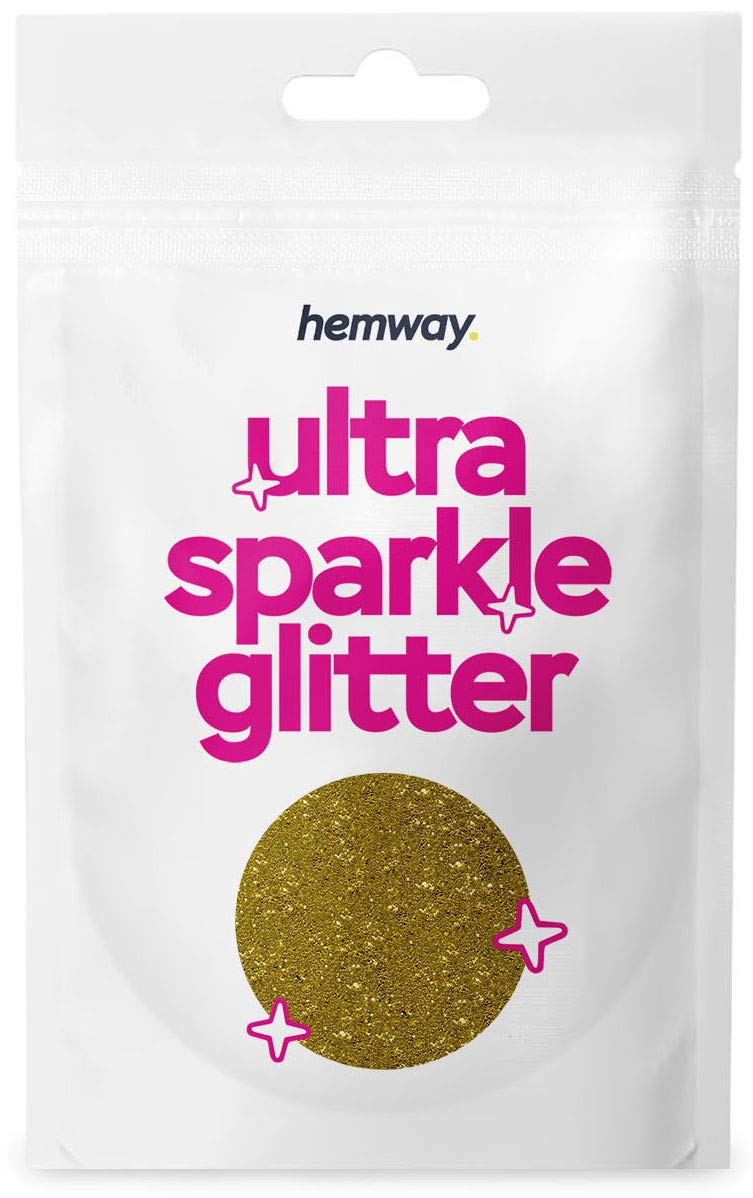 Hemway Ultra Sparkle Glitter 10g/0.35oz Cosmetic Safe, Fine Slime, Crafts, Weddings, Decorations, Art, Beauty, Decoration Scrapbooking -(Gold)