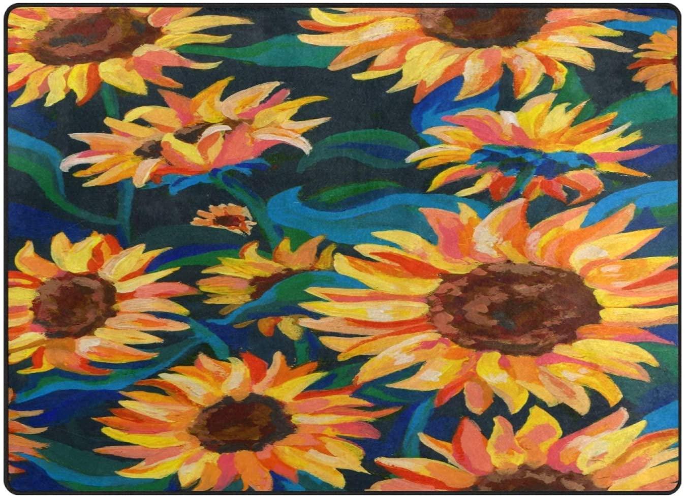 ALAZA Sunflower Art Vintage Area Rugs Non-Slip Floor Mat for Living Room Bedroom Home Decor