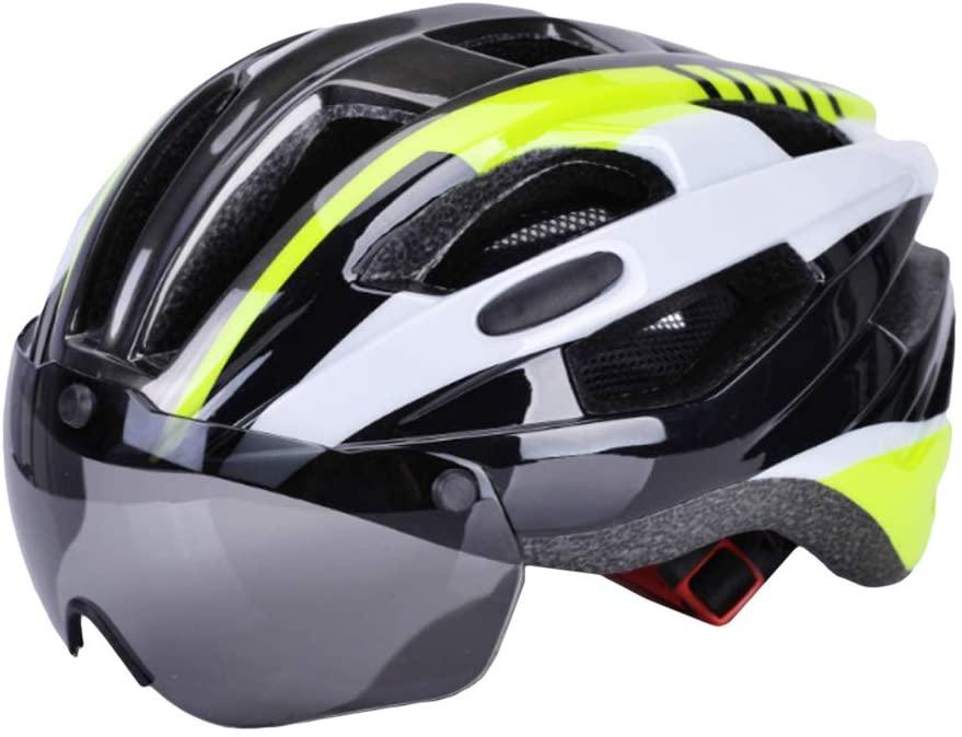 YHCWJZP Bicycle Helmet, Unisex Adults Adjustable Cycling Road Bike Helmet with Detachable Goggles Visor Green