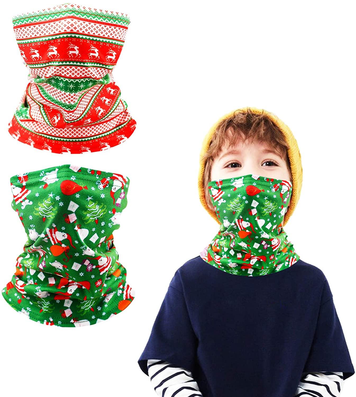 Woplagyreat Kids Neck Gaiter Cute Face Cover Bandana for Christmas Autumn Winter