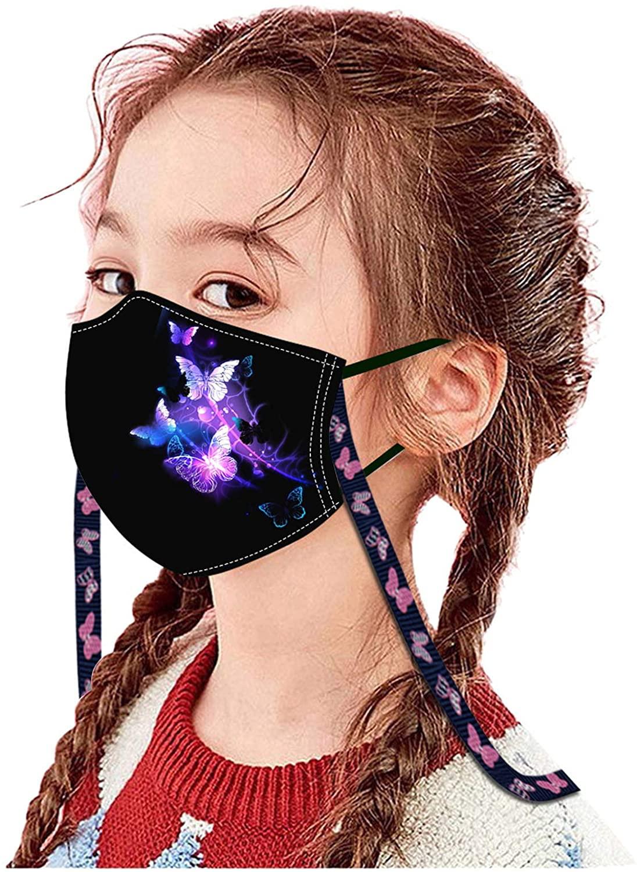 Kids Children Butterfly Outdoor Cotton Washable Reusable Face Bandanas