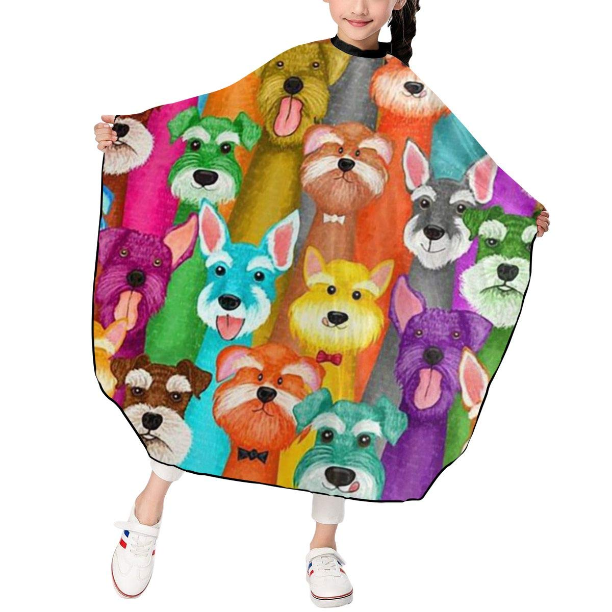 Colorful Oil Cute Schnauzer dogs Kids Children Barber Cutting Cape Hairdressing Salon Hair Styling Cloth Apron Cover Gown Toddler (Adjustable Snap Haircut /39