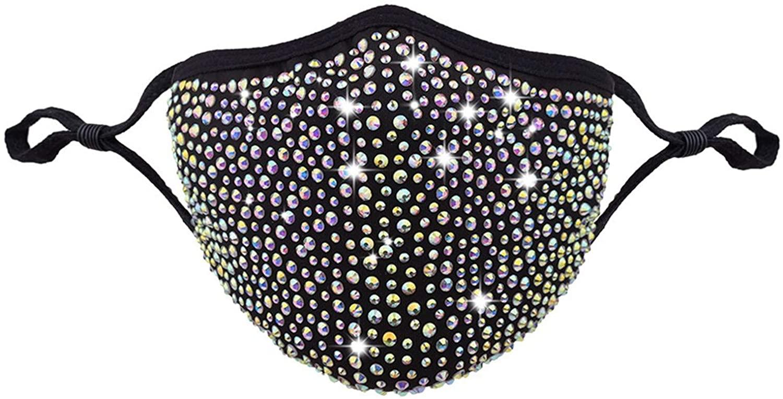 Selinora Adults Face Mɑѕḱ Face Bandana_Covering_MASK Halloween Masquerade Rhinestone Crystals Face Protection Fabric