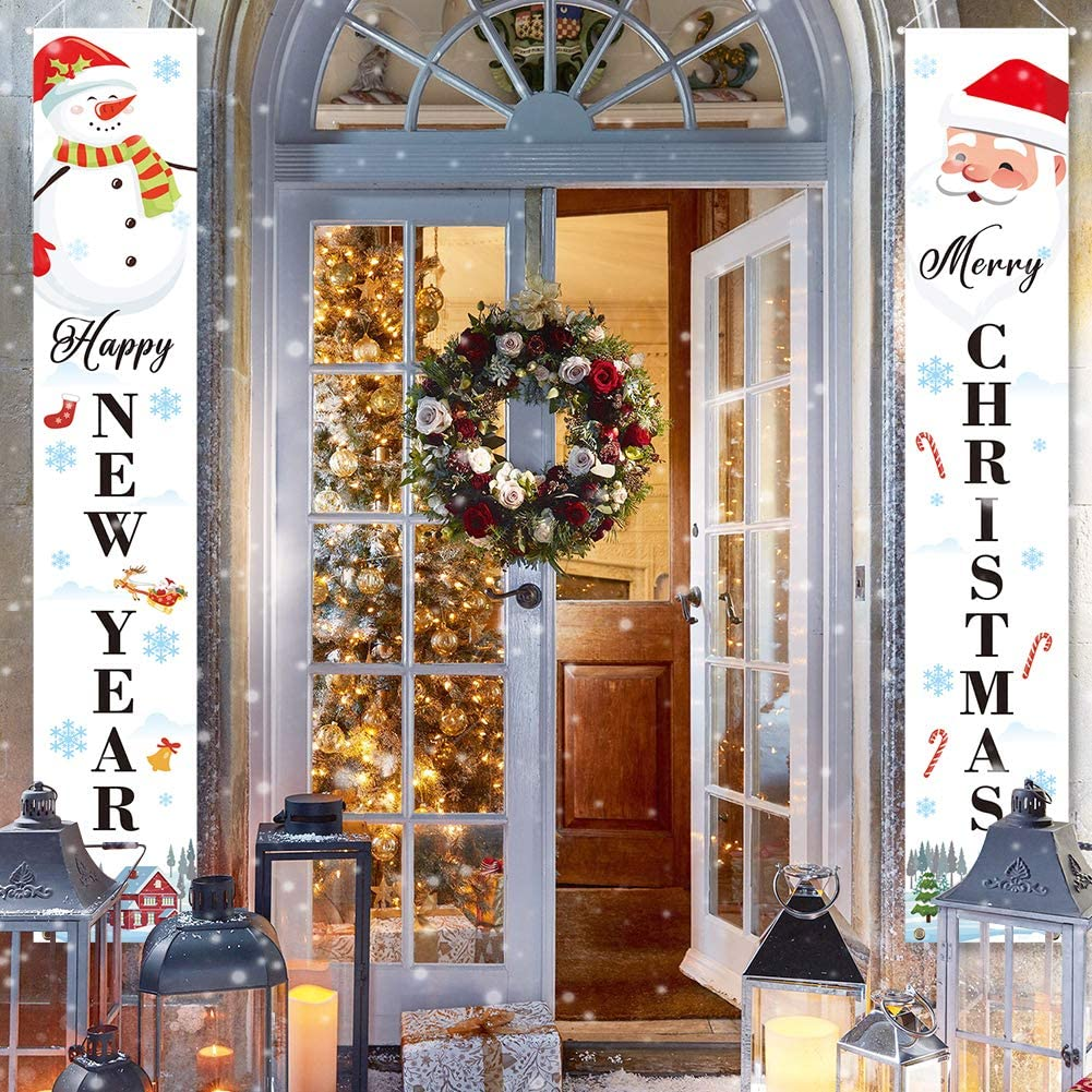 LioNergy Merry Christmas Banners, Happy New Year Christmas Decorations, White Xmas Decoration Porch Sign for Holiday Home Indoor Outdoor Porch Wall Christmas Party Decoration