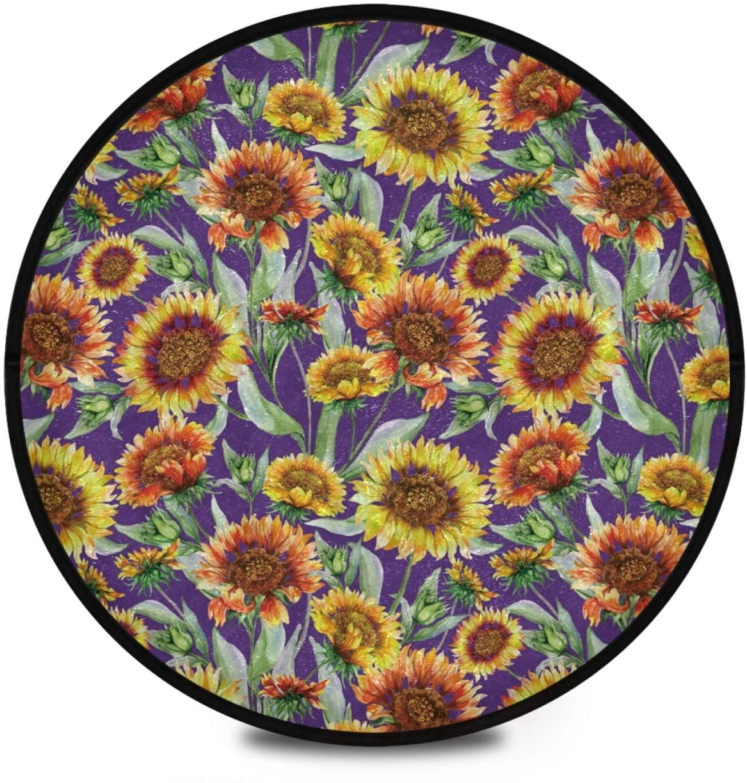 Sunflower Round Area Rug Non Slip Flora Round Rug Floor Mats Carpet Yoga Mat Nursery Rug Non Skid Washable for Living Dinning Room 2020195