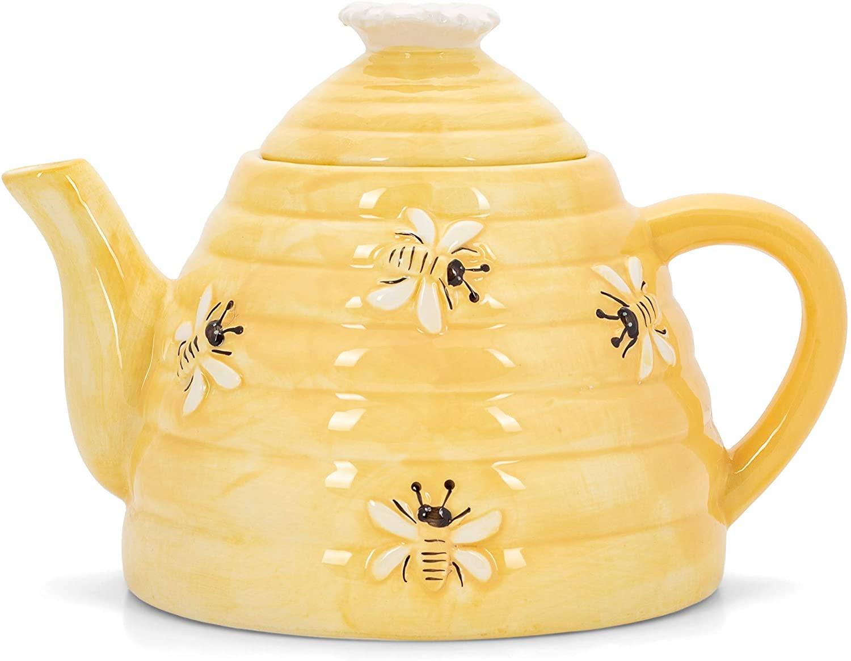 Honeycomb Yellow Beehive 6.5 x 6 Dolomite Decorative Teapot