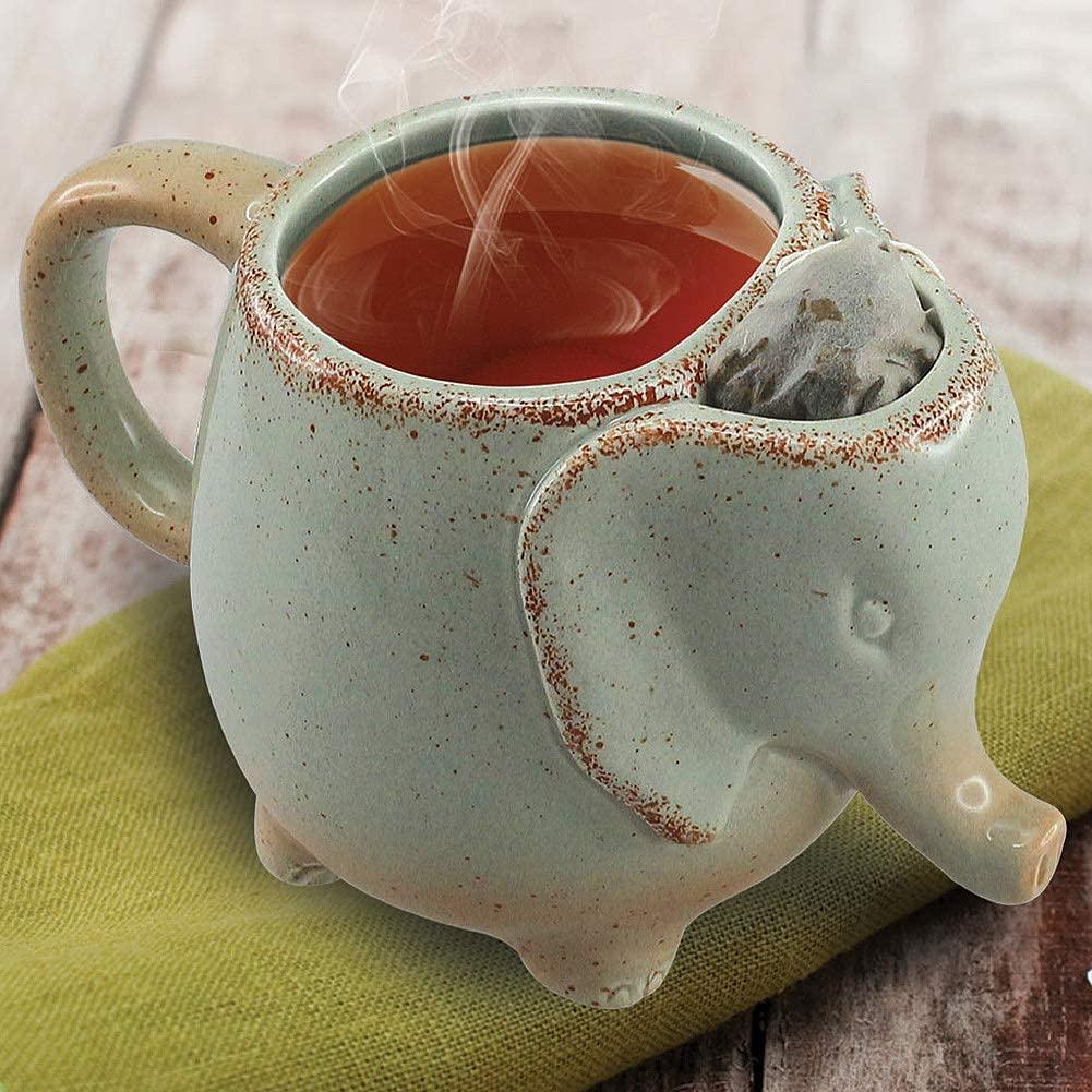 Ceramic Elephant Tea Mug (Mint green) - Makes a Great Gift
