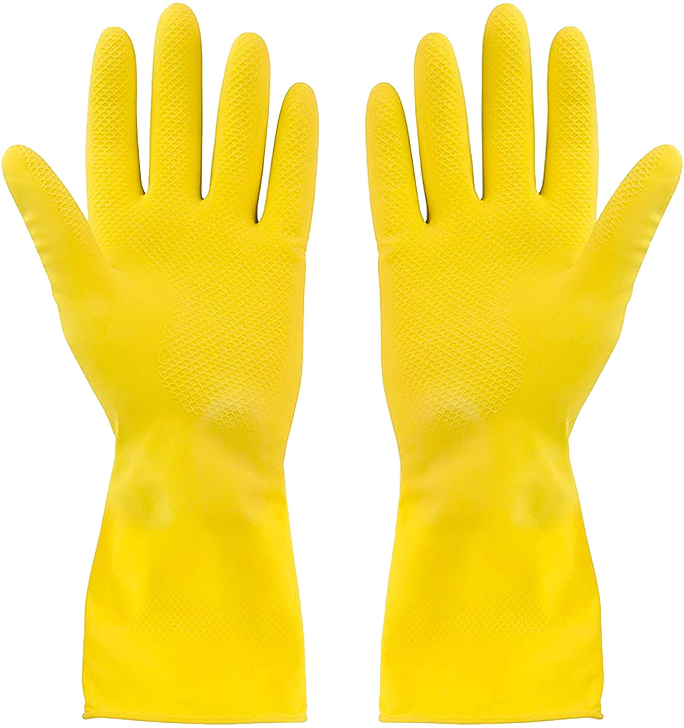 SteadMax 2 Natural Rubber Gloves, Individually Packed Pairs for Single Use, Natural Rubber Latex Yellow Cleaning Gloves, Small (2 Pairs)