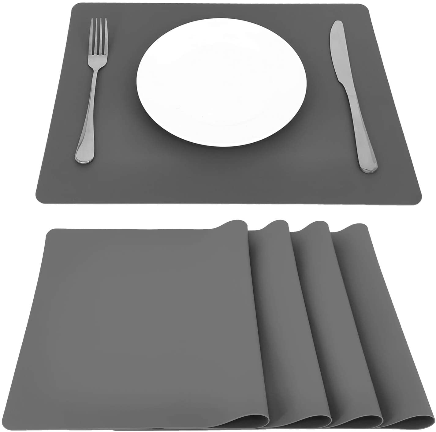 Onlyer Gray Silicone Placemats, Set of 4 Waterproof Non-Slip Kitchen Table Mat Set for Dining Table, 15.75 x11.81 Inches Heat Resistant Insulation Countertop Protector Pads, Easy to Clean