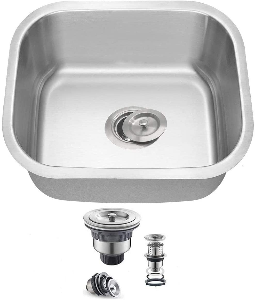 Oakland 16x16 Undermount Single Bowl 18 Gauge Stainless Steel Bar Prep Sink,with Basket Drain Strainer