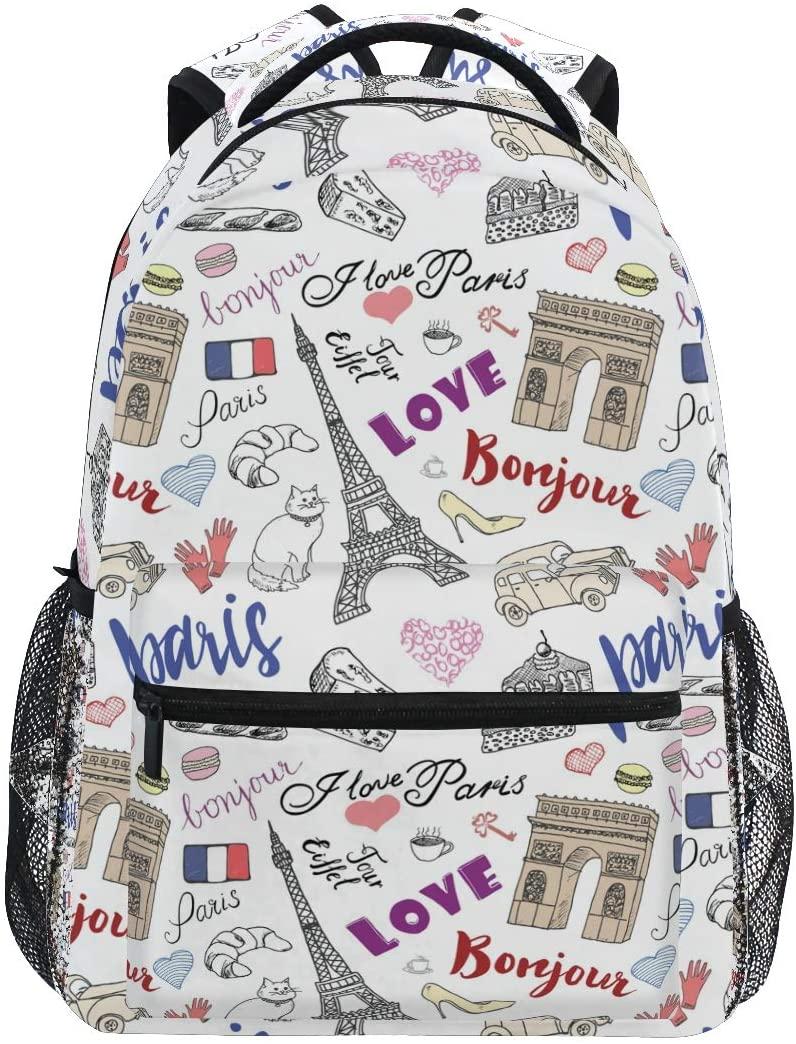 School Backpack Paris Eiffel Tower Triumf Arch Bookbag for Boys Girls Elementary School Casual Travel Bag Computer Laptop Daypack