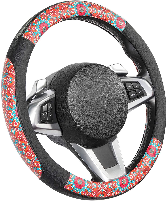 SEG Direct Mandala Pattern Multicolor Microfiber Leather Car Steering Wheel Cover, Standard Size for 14.5 in-15 in Outer Diameter Steering Wheel.