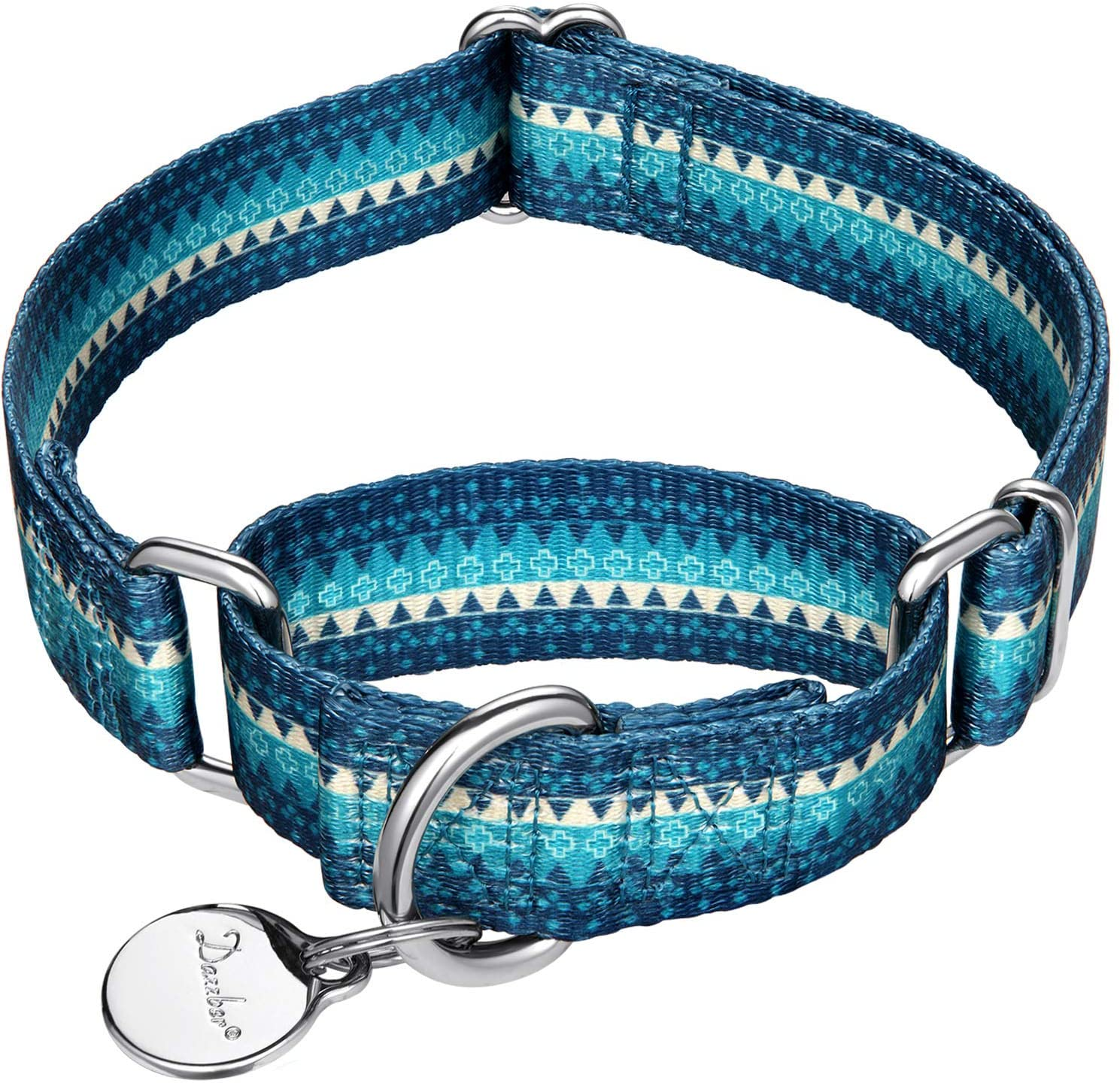 Dazzber Martingale Collar Dog Collar No Pull Pet Collar Heavy Duty Dog Martingale Collars Silky Soft with Unique Pattern for Medium and Large Dogs