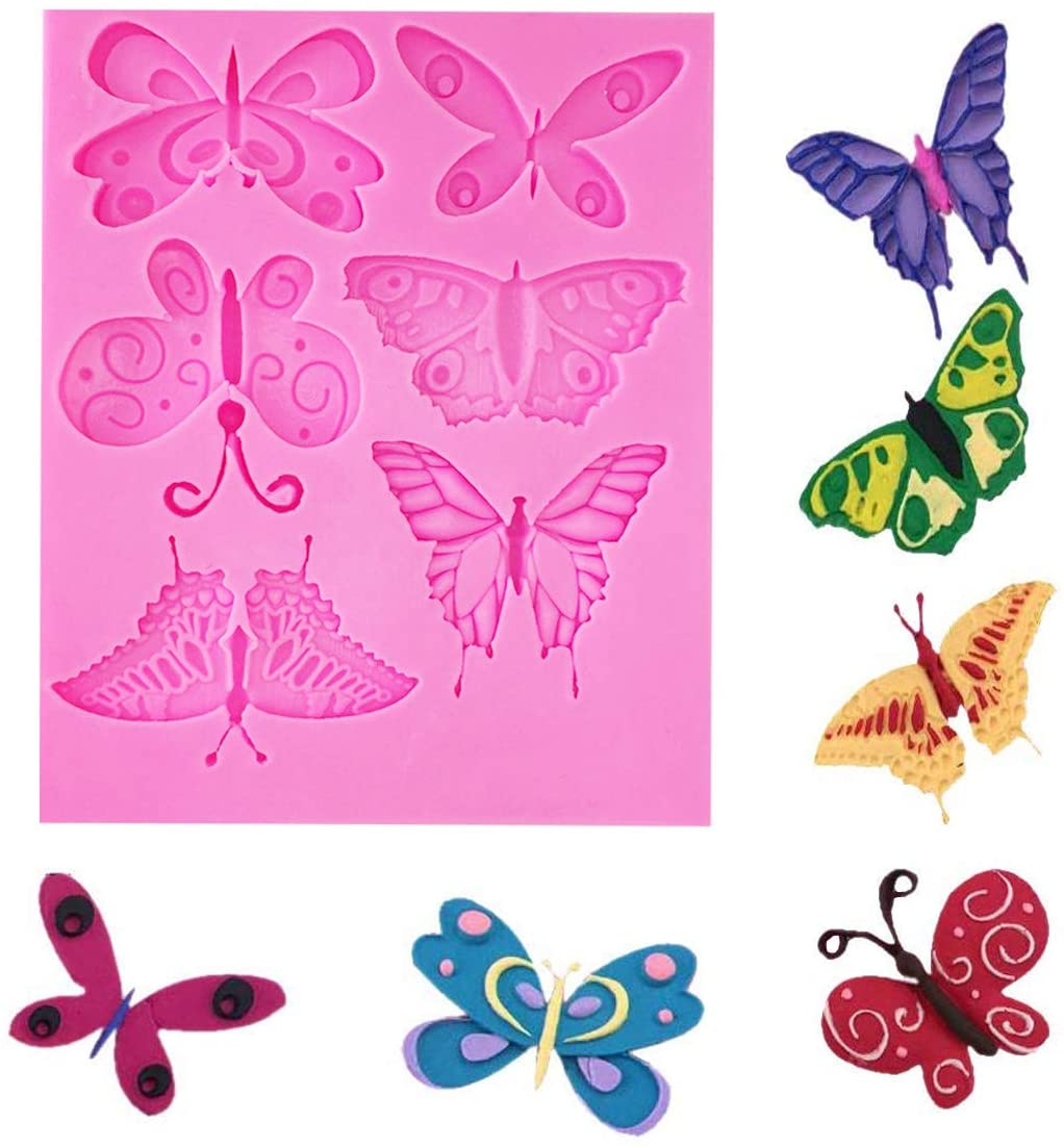 OBTANIM Silicone Butterfly Fondant Mold Cute 3D Mould Cake Topper DIY Decoration Baking Tool for Sugarcraft, Chocolate, Candle, Soap Making and Crafting