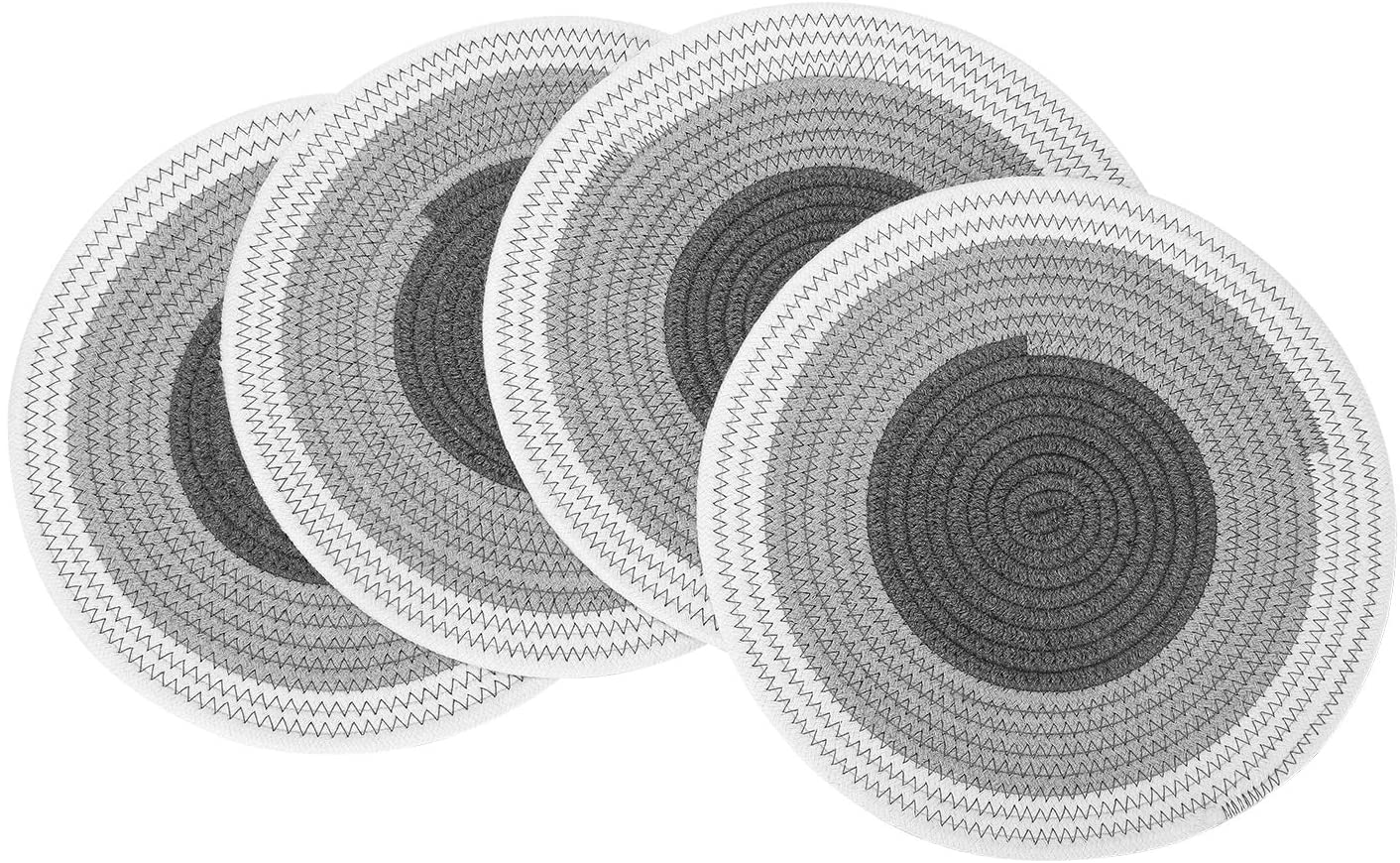 FOYO 12 Inch Round Placemats Heat-Resistant, Non-Slip Washable Table Mats for Dinner Table, Cotton Braided Placemats, Set of 4