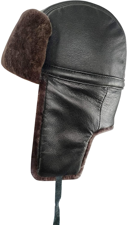 Ledamon 100% Shearling Sheepskin Leather Winter Bomber Russian Aviator Trooper Trapper Ushanka Hat for Men Women