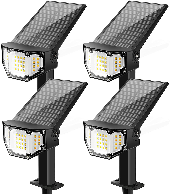 Otdair Solar Lights Outdoor 30 LED, Solar Spotlights Outdoor IP67 Waterproof with Four Lighting Modes, Solar Landscape Lights Solar Ground Lights Flood Lights for Yard Walkway Pathway Garden 4 Packs