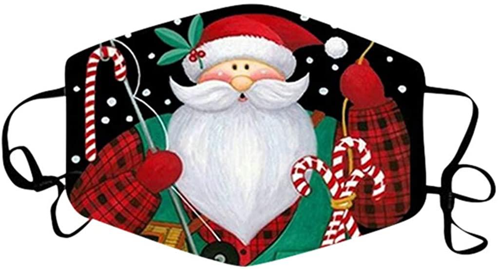 AFEIDD Unisex Face Bandana Christmas Breathable Face Protection Adjustable Earloops Dustproof Facewear
