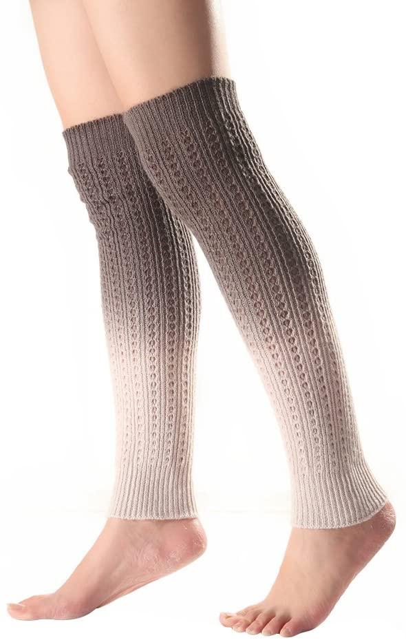 MoO1deer Womens Thigh High Socks, Over The Knee Socks, Leg Warmers, Gradient Knee High Women Boot Socks Winter Knitted Footless Leg Sleeve Warmer for Women Grey