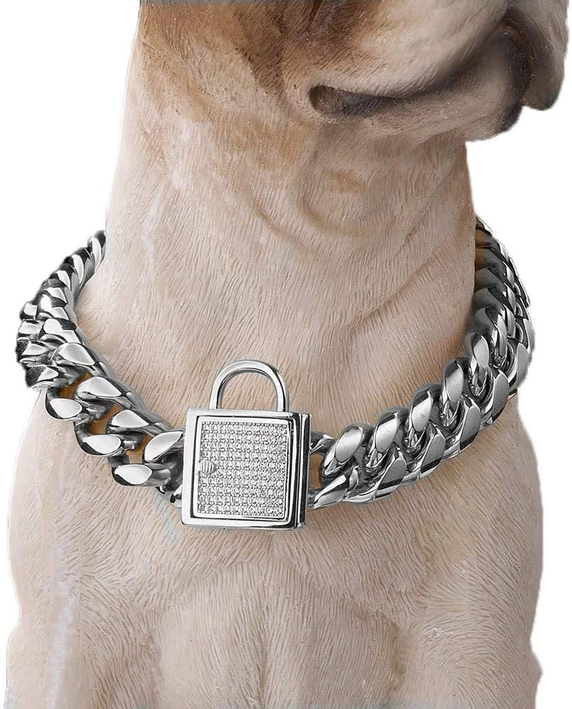 Granny Chic Top Cubic Zirconia Lock 14mm Stainless Steel Silver Curb Chain Pet Dog Training Walking Choke Collar