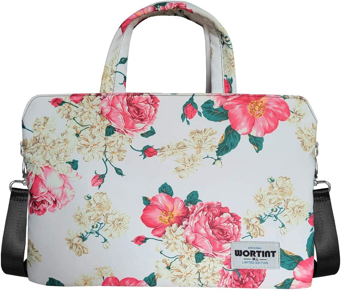WORTINT Laptop Toe Bag for Women Computer Bag Business Office Work Bag Travel Handbag Shoulder Bag Waterproof Lightweight Shockproof Large Briefcase Multifunctional Carrying Bag. (13.3 Inch, Peony)