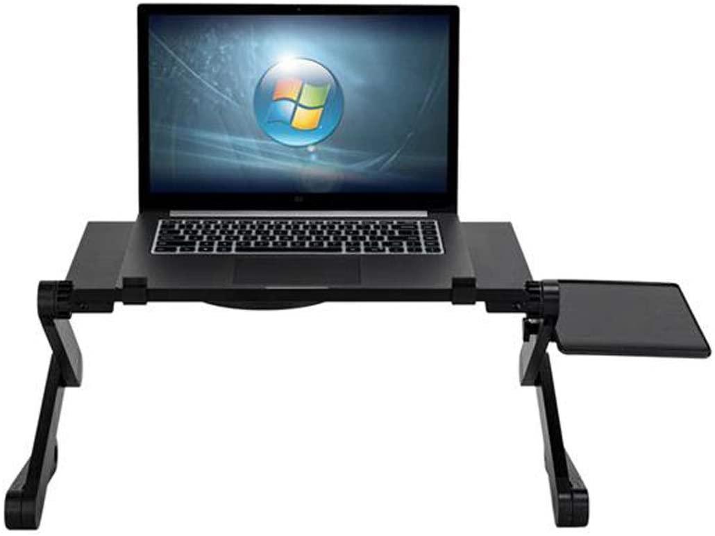 Folding Laptop Table,Under Table Fan Adjustable Laptop Stand,Adjustable Foldable with Flip Top and Legs,Laptop Desk Tray,Breakfast Serving Bed Trays Table (Black, One Size)