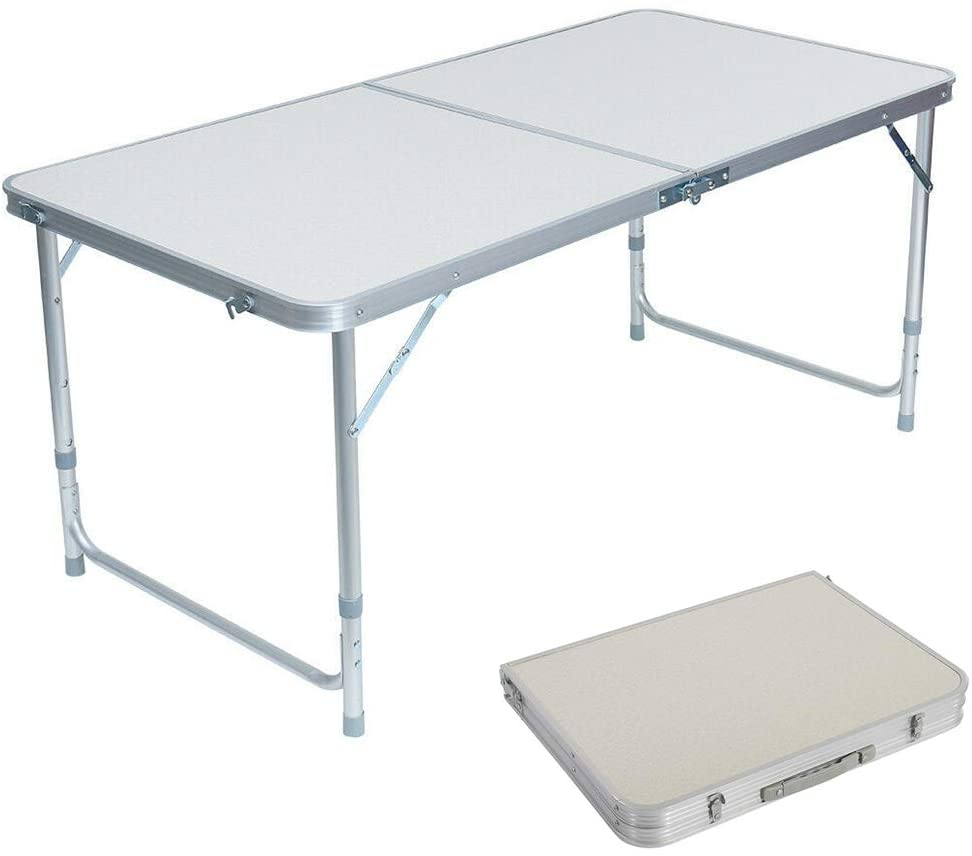 Lovinland Aluminum Folding Table, Portable Camping Table 4 Foot Lightweight Foldable Table Height Adjustable for Party Picnic Dining Outdoor Indoor Use