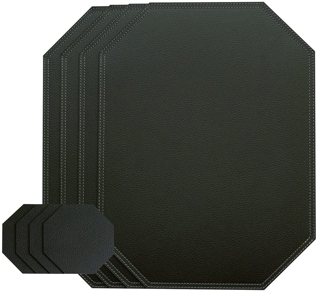Nikalaz Black Octagon Set of Placemats and Glass Coasters, 4 Table mats and 4 Coasters, Place mats 15.75'' x 11.81'' and Coasters 3.94'' x 3.94'', Recycled Leather (Black)