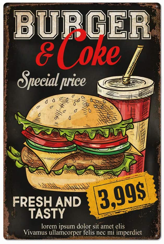 Original Retro Design Tin Metal Sign Wall Art | Fresh and Tasty Burger and Coke | Thick Tinplate Print Poster Wall Decoration for Restaurant/Kitchen