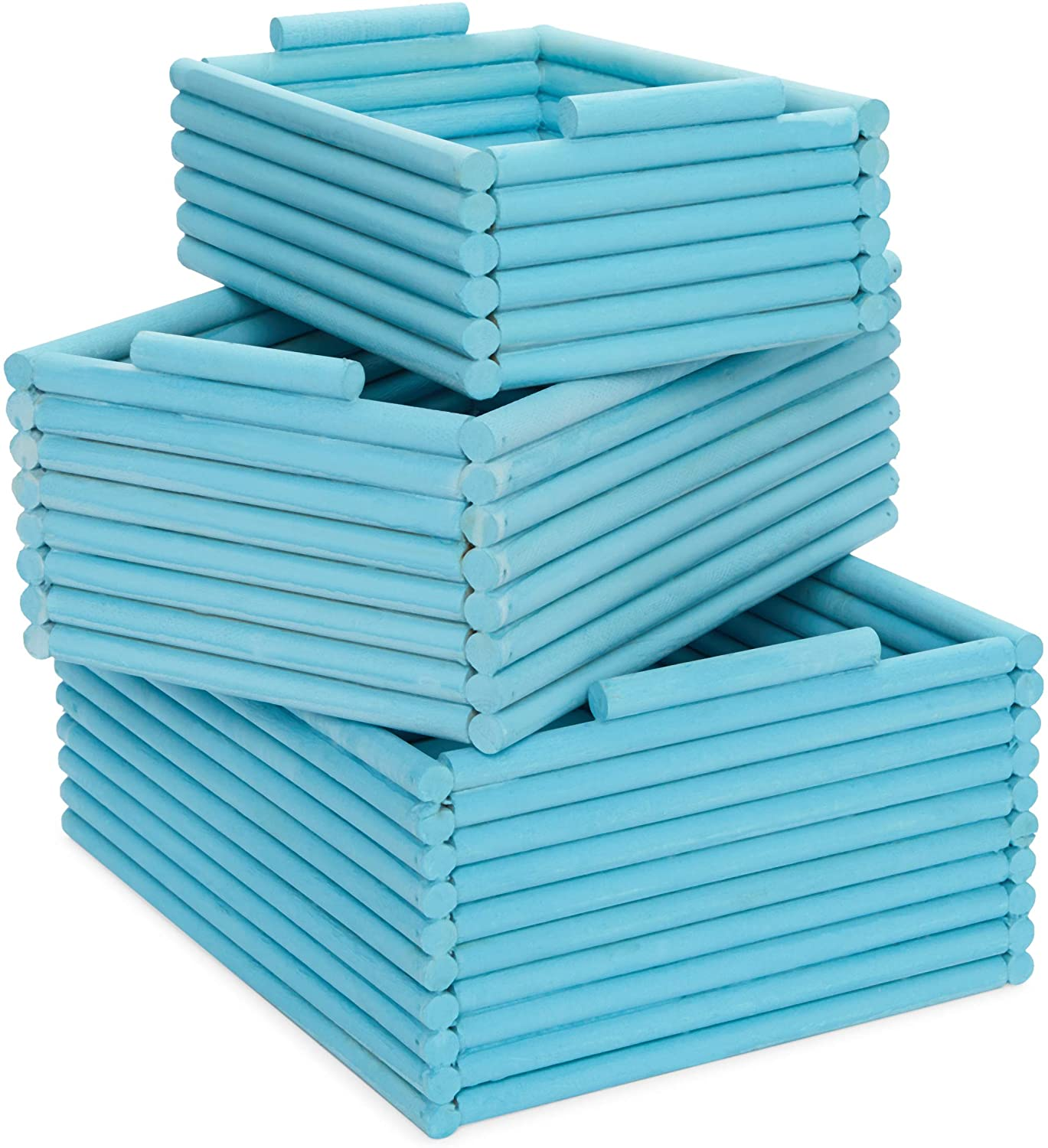 Blue Wooden Crate Nesting Boxes for Storage (3 Sizes, 3 Pieces)