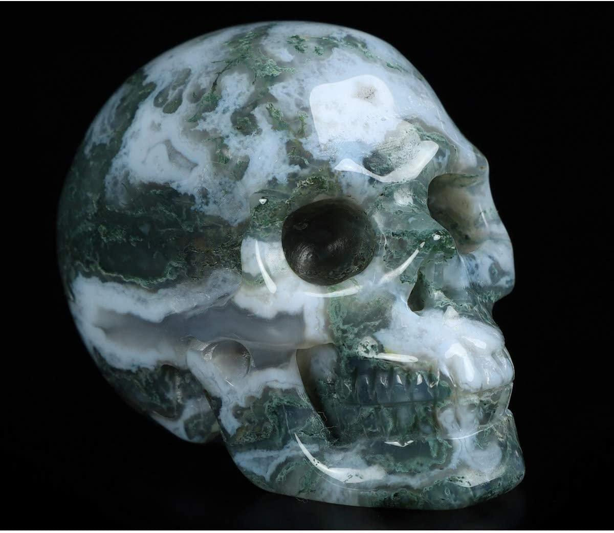 "Skullis 2.0"" Green Moss Agate Crystal Skull, Hand Carved Gemstone Fine Art Sculpture, Reiki Healing Stone Statue."