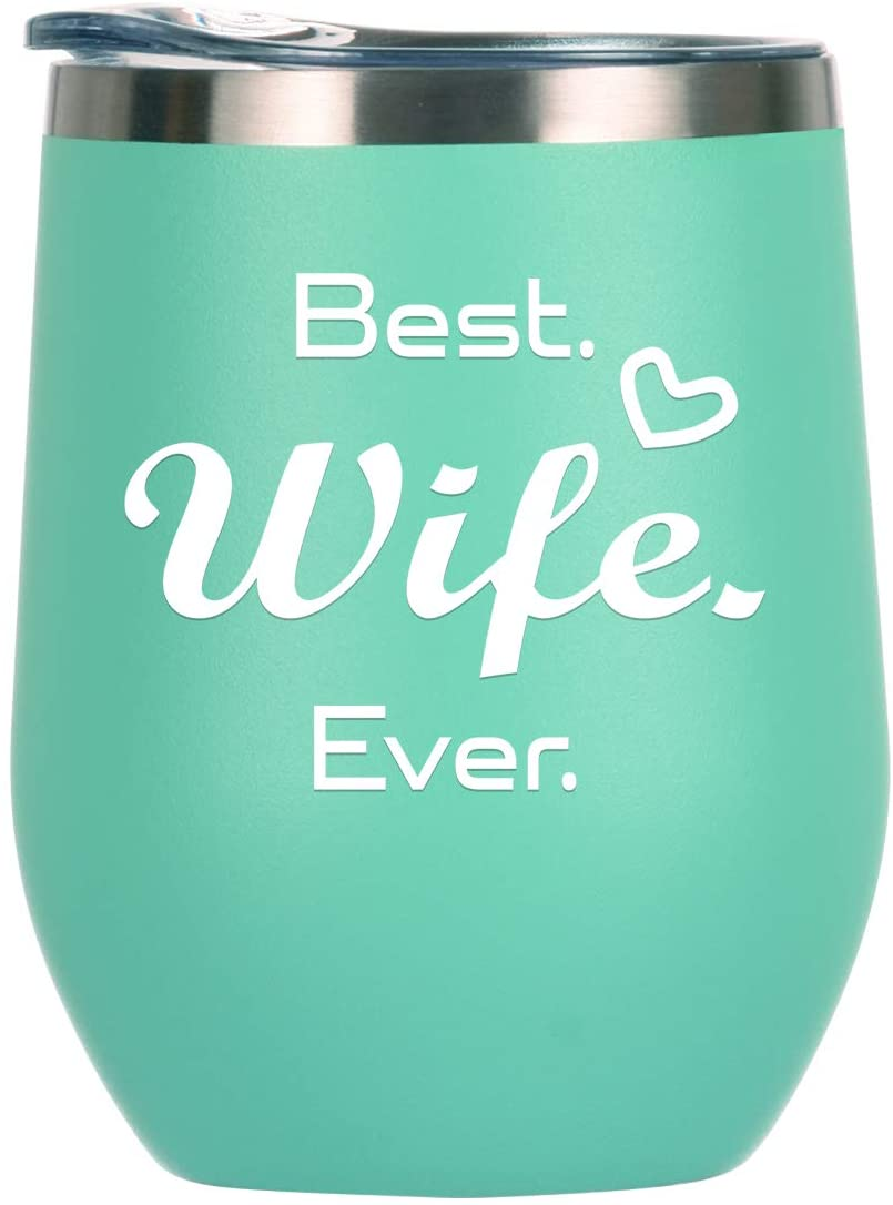 Best Wife Ever Wine Tumbler 12 oz, Funny Birthday Gifts for Women, Mother's Day, Valentine's Day, Dating, Wedding Anniversary, Christmas Gifts for Wife, Romantic Gift Ideas for Her from Husband