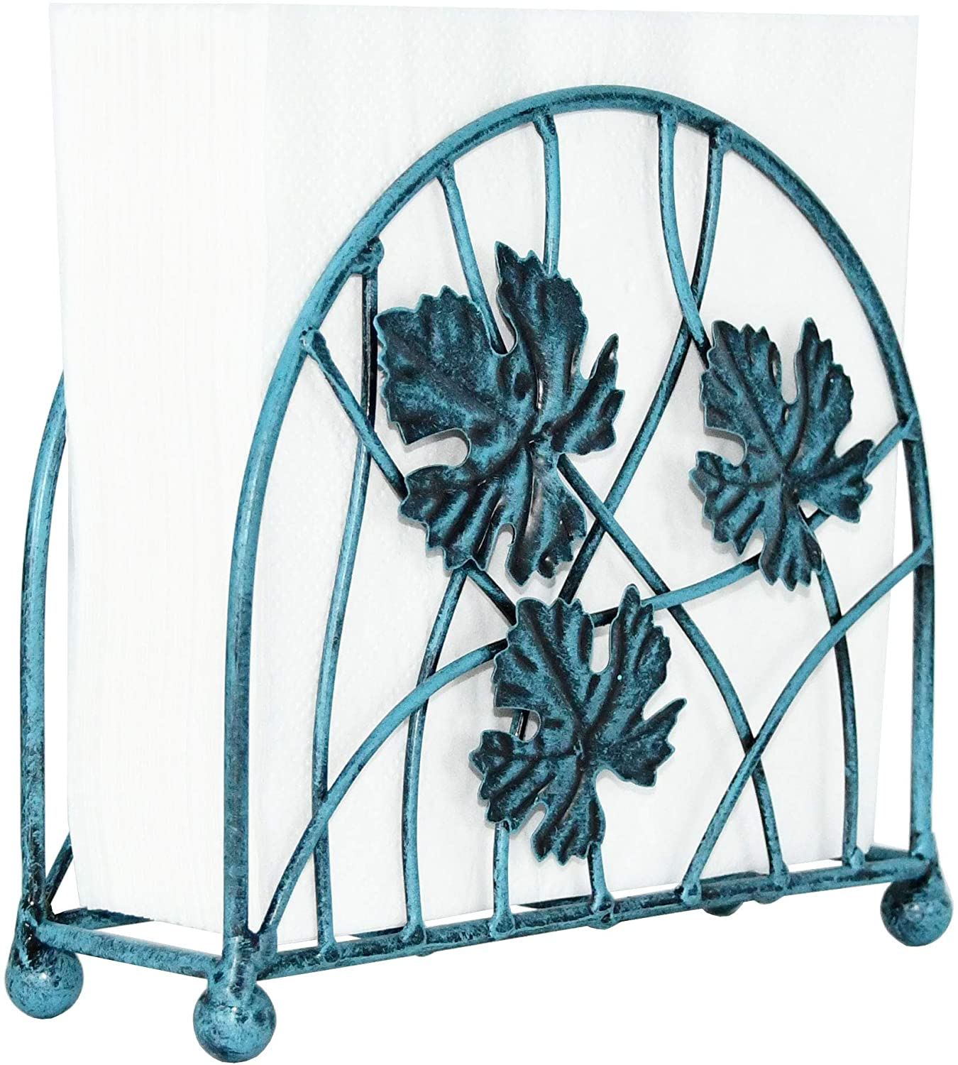 OwlGift Antique Metal 6-Leafed & Branches Design Napkin Holder, Vertical Kitchen Tabletop Dispenser, dining table & Kitchen Décor, Farmhouse Upright Napkin Storage Organizer – Turquoise