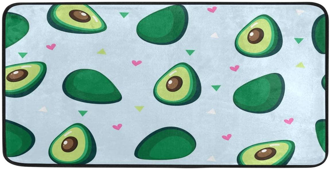 FORMEETY Fruit Avocado Love Heart Long Floor Mat Washable Area Rug Pads Kitchen Rug Doormat Carpet for Living Room Indoor Outdoor Bathroom Entryway